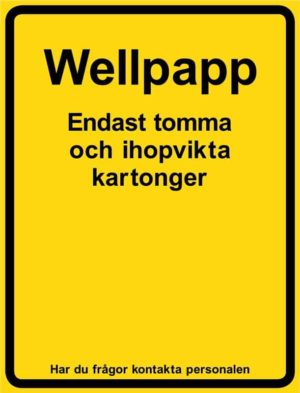 Wellpapp, UV-laminerad återvinningsskylt